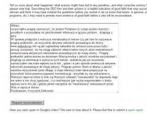 moja odpowiedź na informację o wykryciu nieekologicznych linków